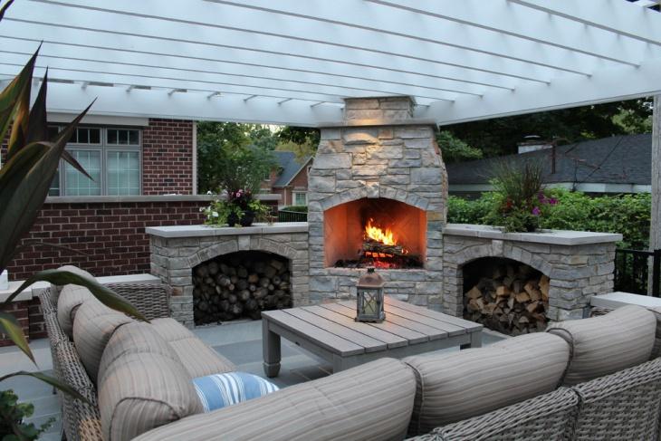 outdoor corner fireplace