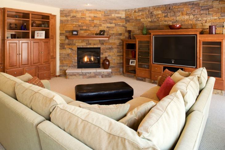 basement corner fireplace idea1