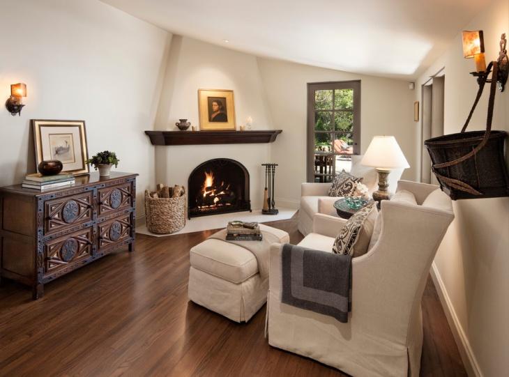 Corner Fireplace Furniture Idea