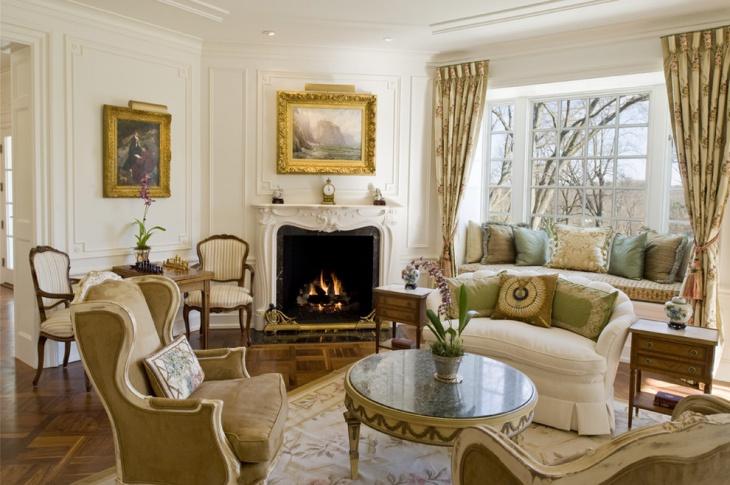 vintage corner fireplace design