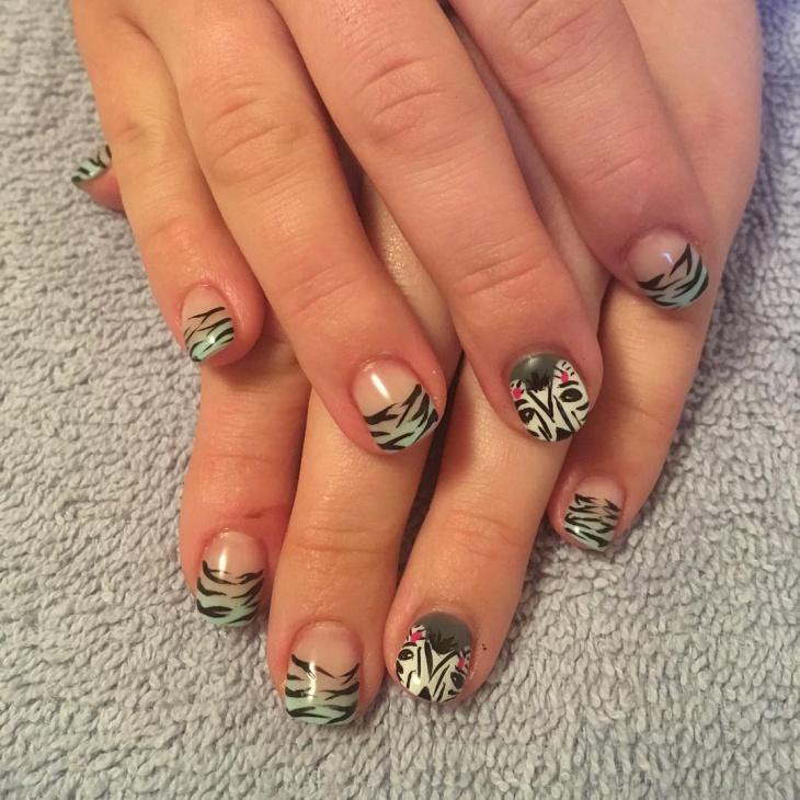 French Tip Zebra Nail Design