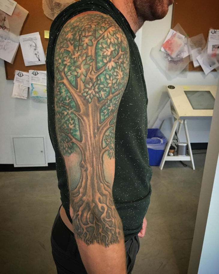 Tree Sleeve Tattoo Design