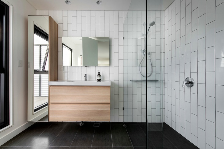 modern subway tile bathroom design