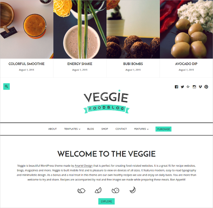 veggie food blog wordpress theme