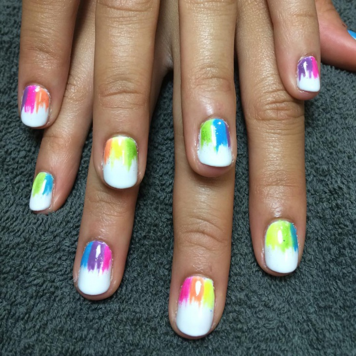 Rainbow Nail Design for Short Nails