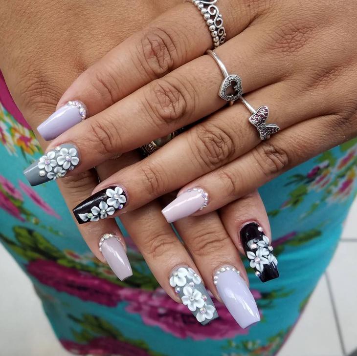 3d Flower Nail Art Design