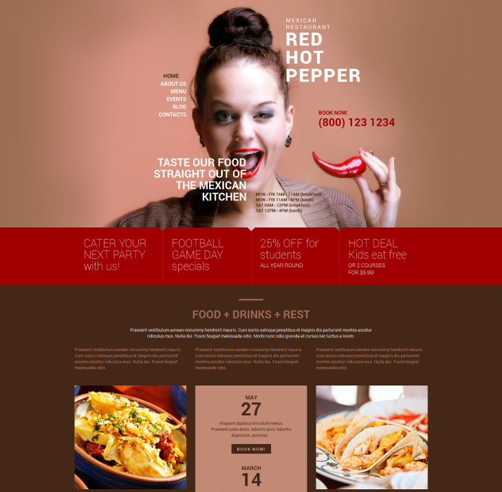 spicy mexican food blog wordpress theme