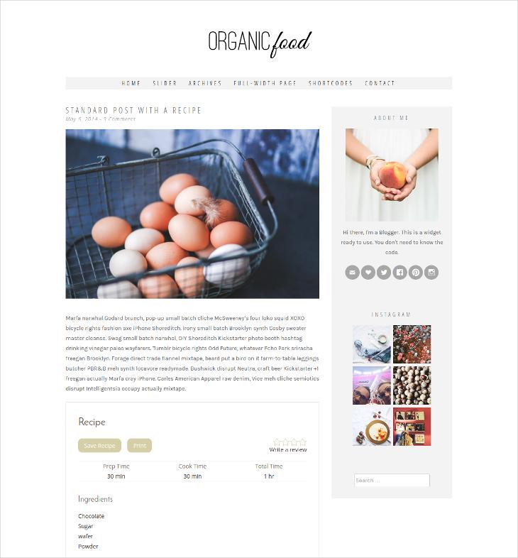 organic food blog template