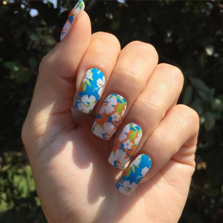 Hibiscus Flower Nail Design
