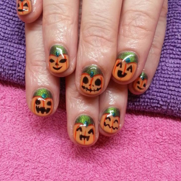 Halloween Pumpkin Nail Design