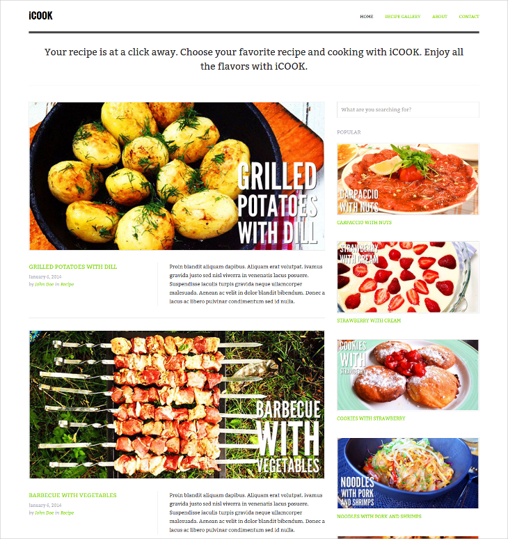 food blog html theme