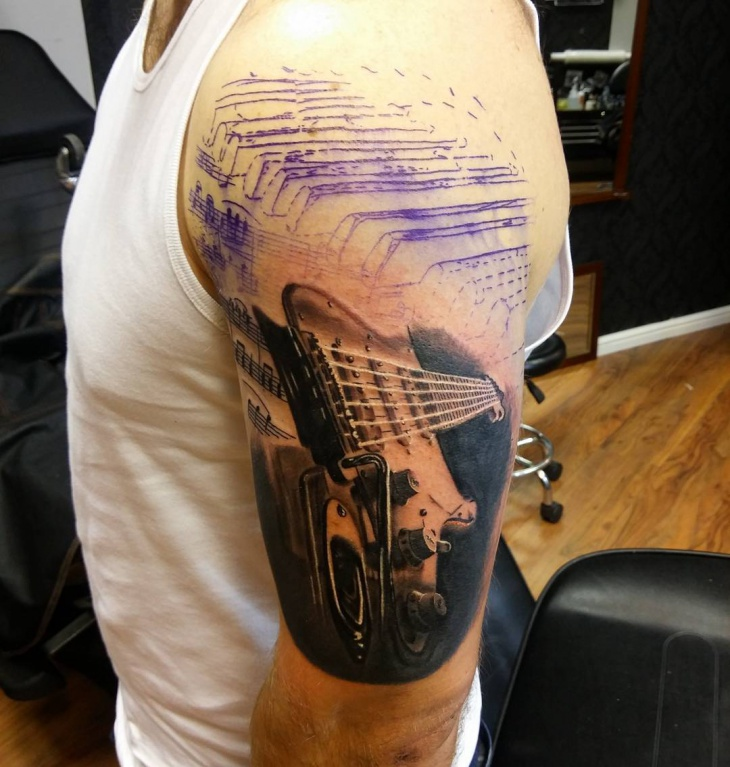 Music Half Sleeve Tattoo Design