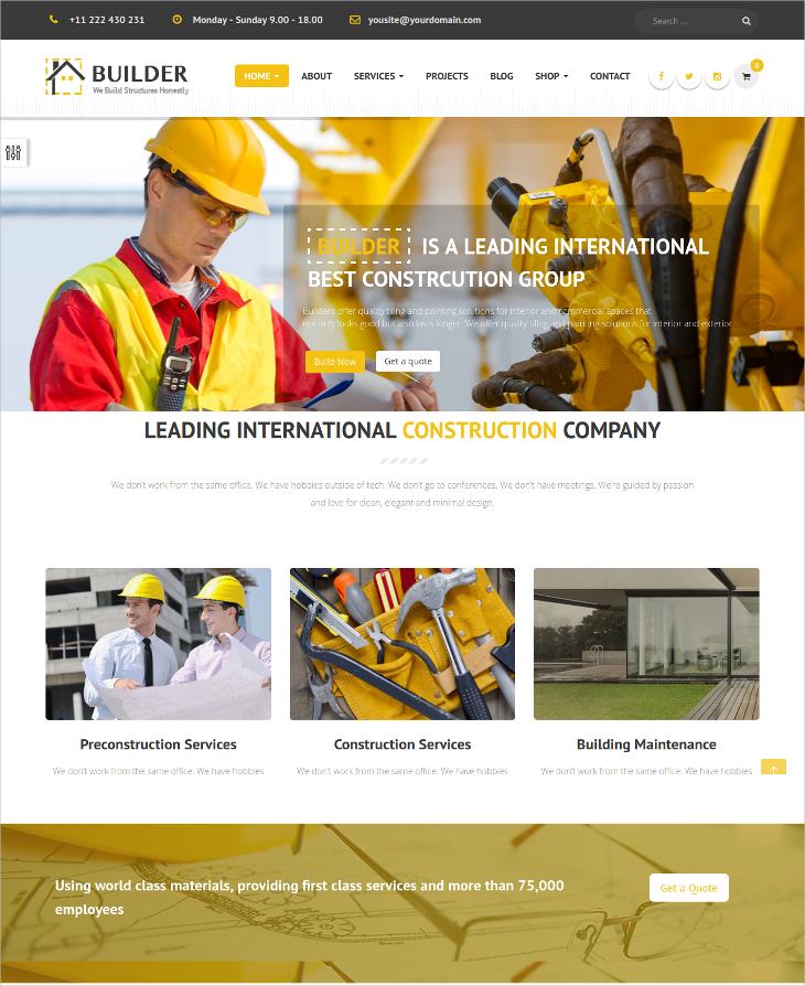 construction building joomla template