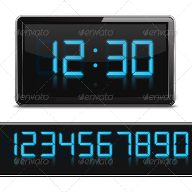 digital clock vector illustration