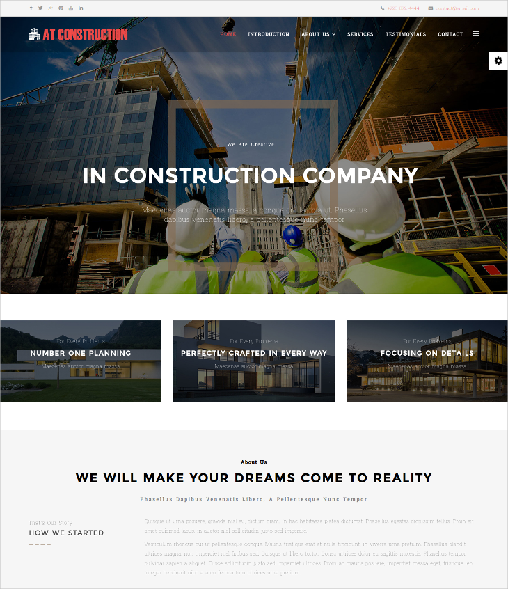 construction onepage joomla template