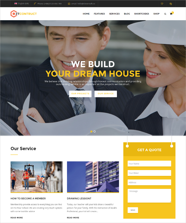 construction building business joomla template