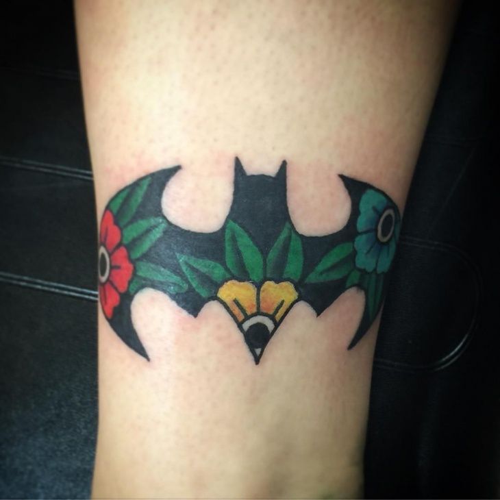 Batman Flower Tattoo Idea