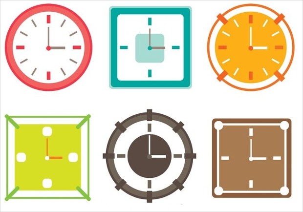colorful clocks vector set