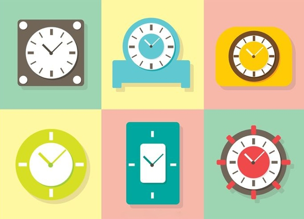 Pastel Clock Vector Set