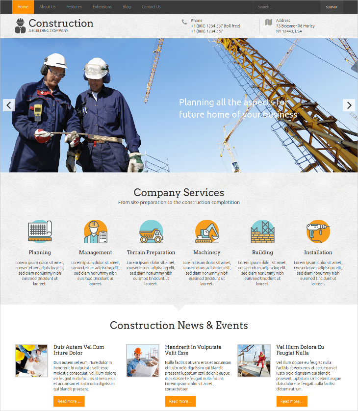 corporate construction company joomla template