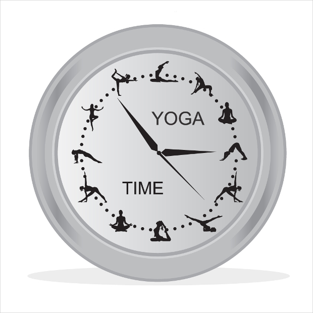 yoga time clock vector
