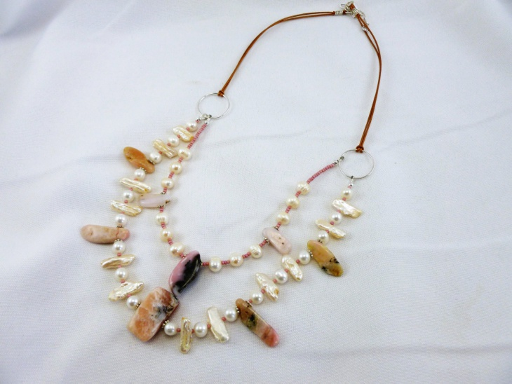 pearl and leather necklace1