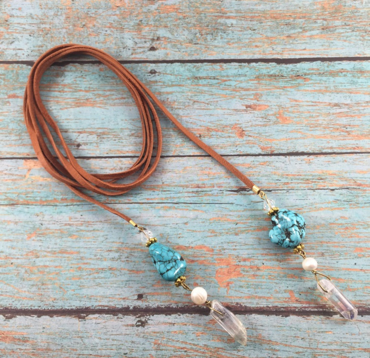 leather wrap necklace model1