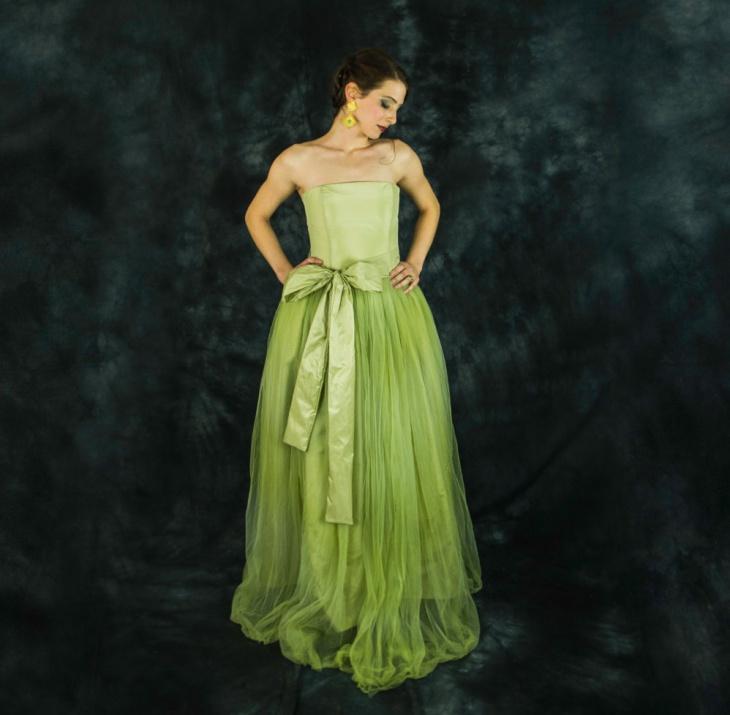 green tulle dress