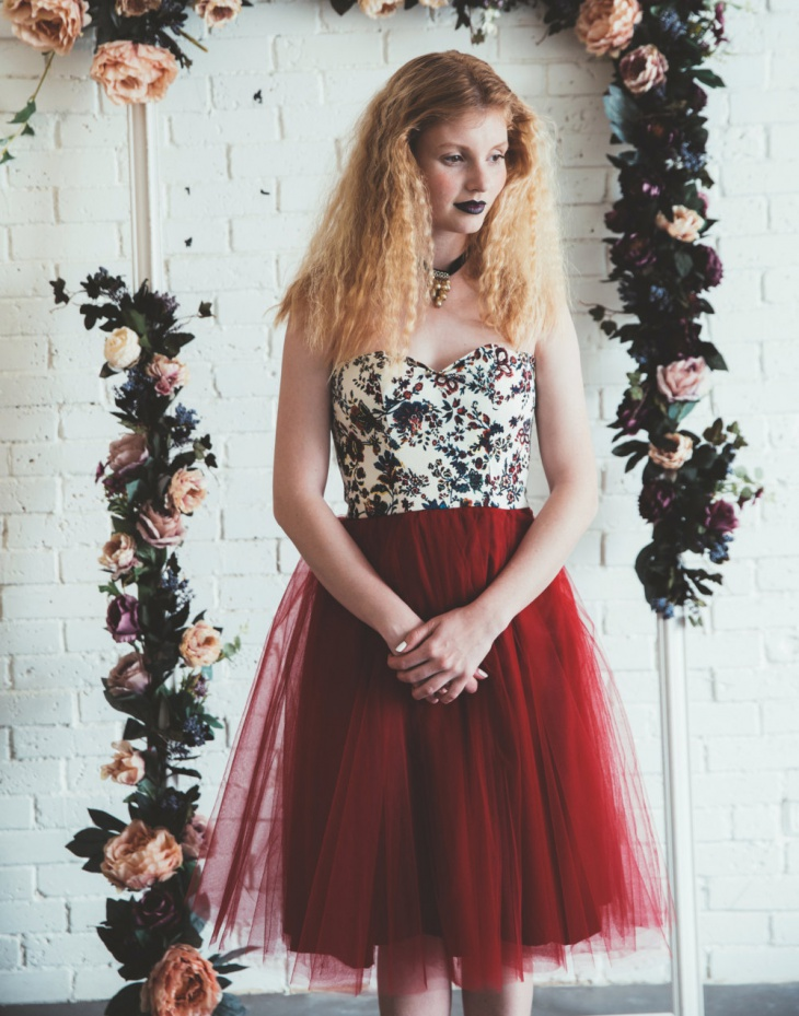 dark red tulle dress