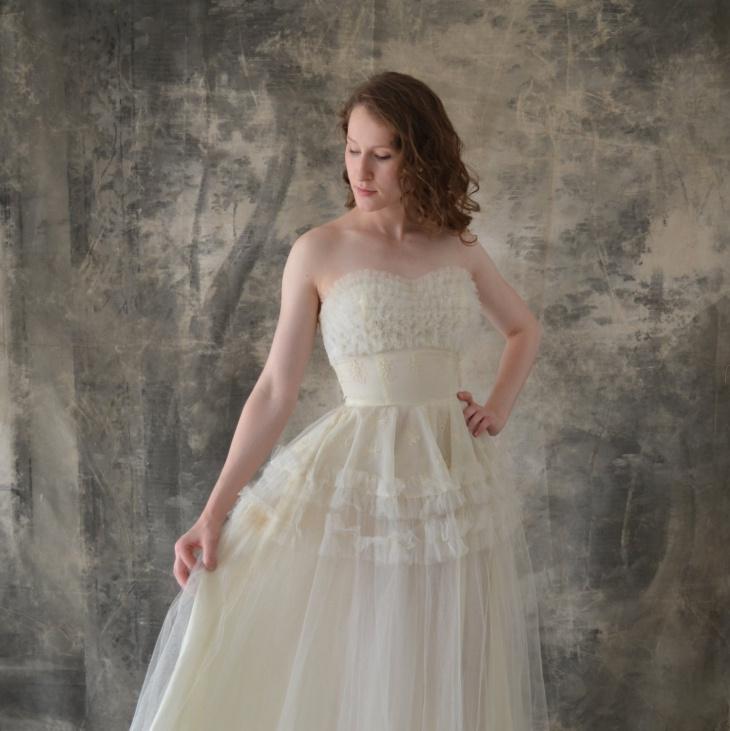 strapless white tulle dress