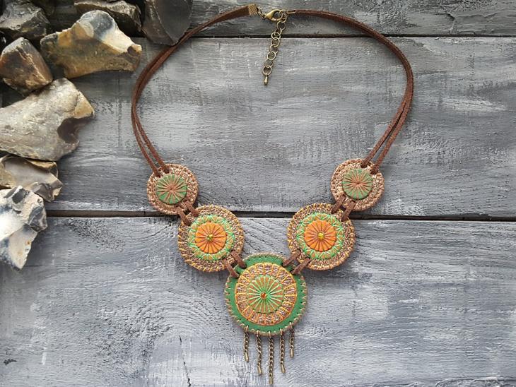 tribal leather necklace idea