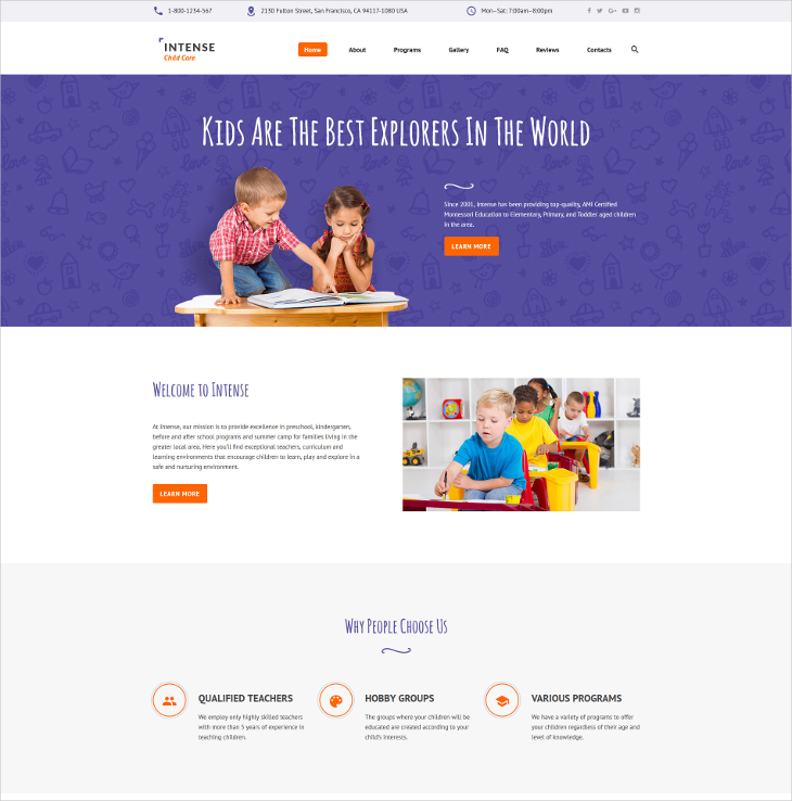 Intense Child Care Parallax Template