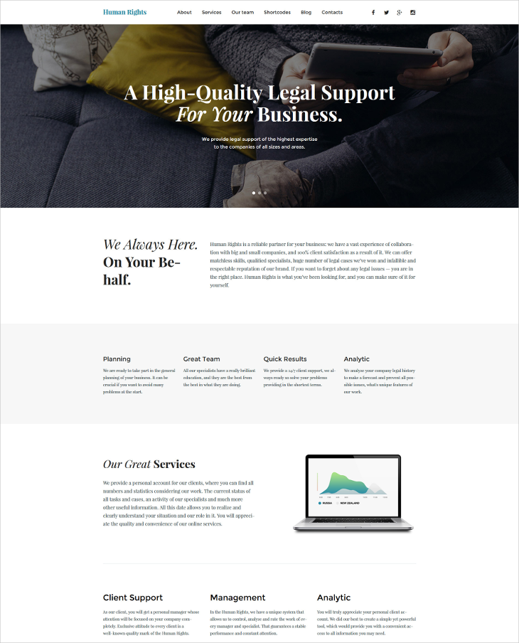 Business Responsive Parallax WordPress Theme