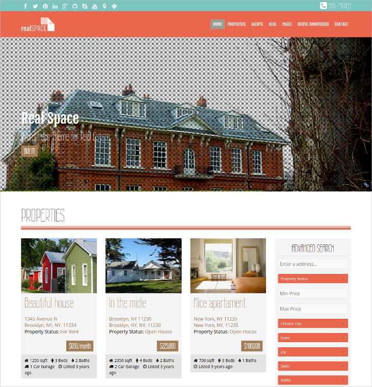 Real Estate WordPress Responsive & Parallax Theme