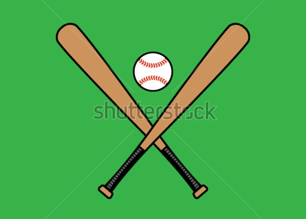 crossed baseball bats vector