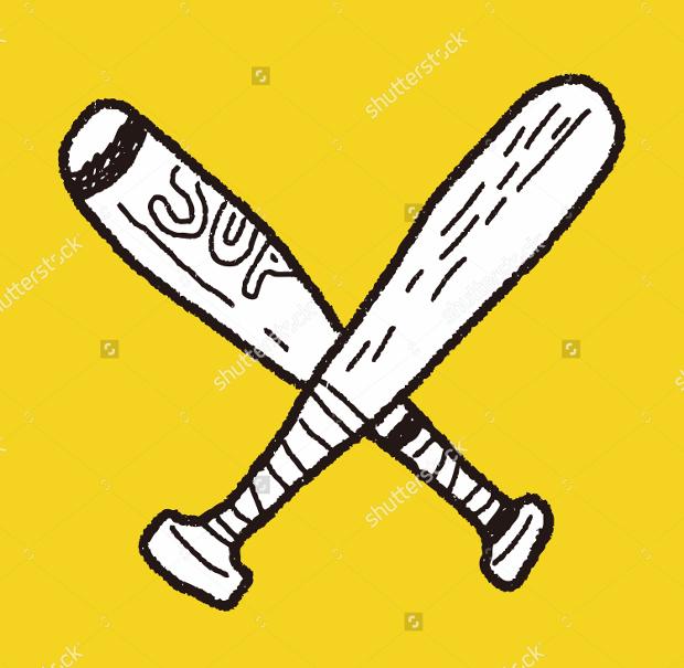 Doodle Baseball Bat Vector