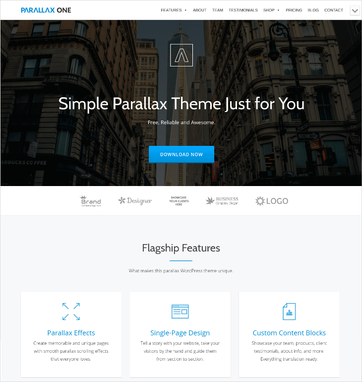 Parallax One Page WordPress Business Theme