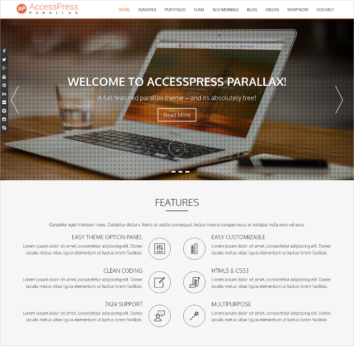 responsive one page parallax theme