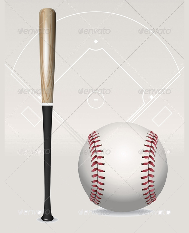 vector baseball bat set