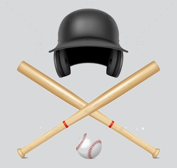 set of vector baseball bat