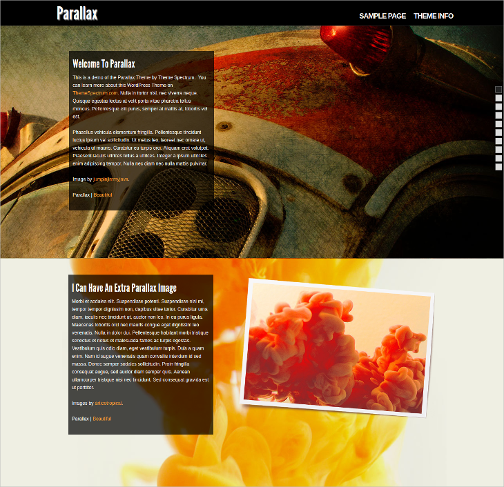 Stunning Parallax WordPress Template