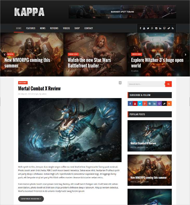 gaming blog wordpress theme