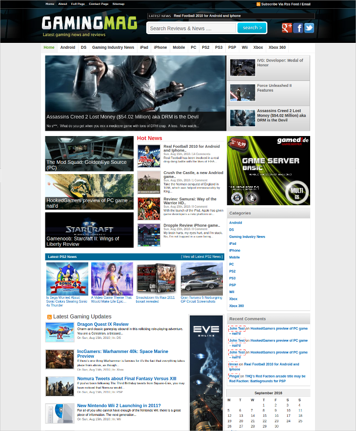 gaming news wordpress theme