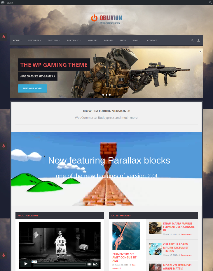multi purpose gaming wordpress theme