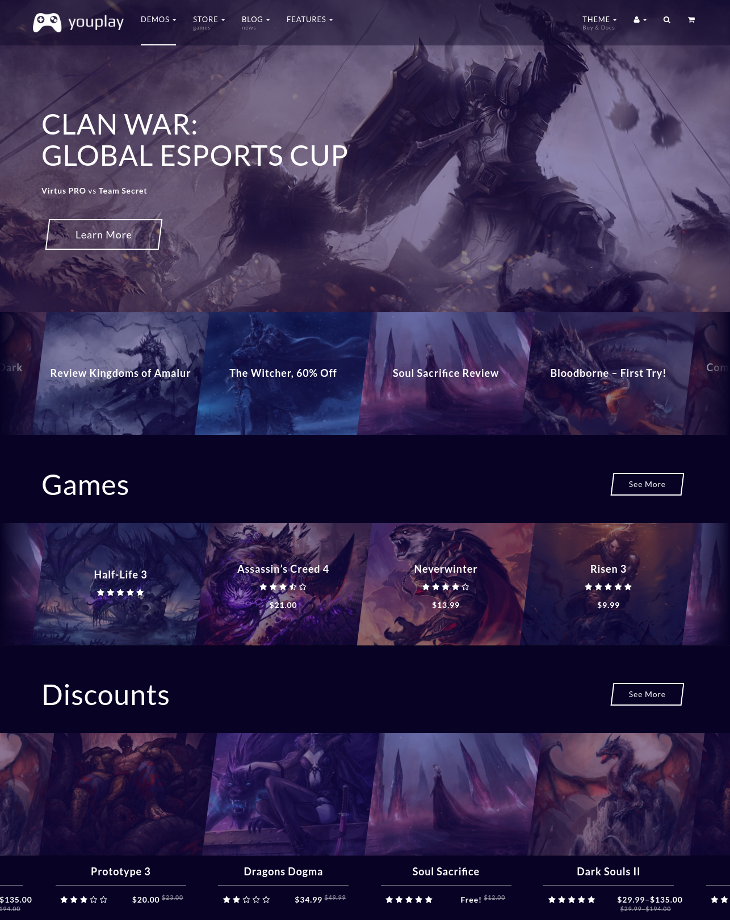 youplay gaming wordpress theme