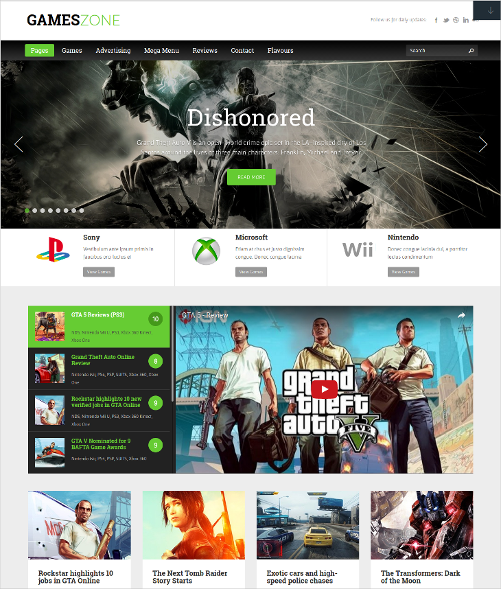 game zone wordpress theme