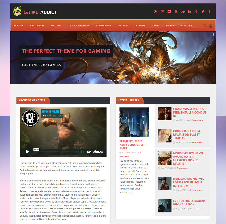 clan war gaming wordpress theme
