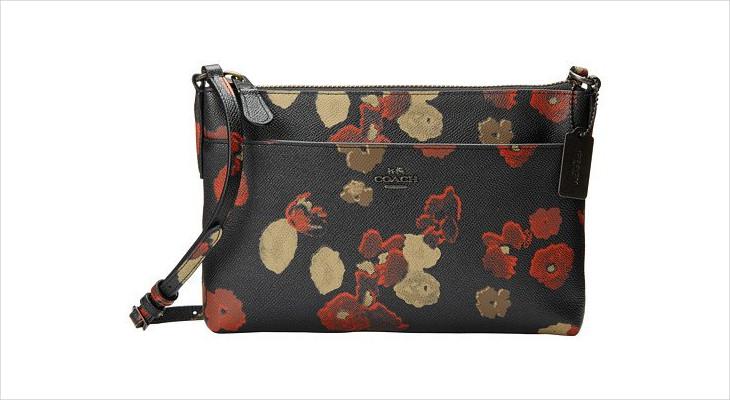 black floral print handbag