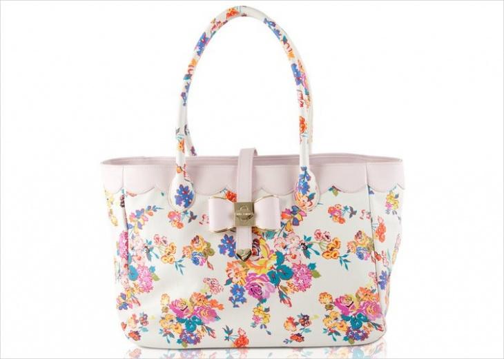 White Floral Print Handbag