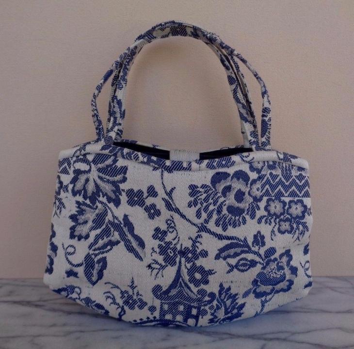 Blue and White Floral Handbag